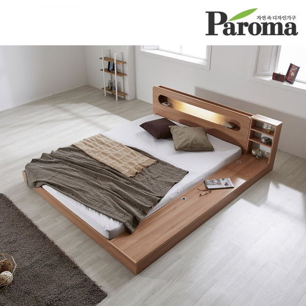 파로마 에반 LED 저상형 침대/수납형 퀸(Q)_프레임만(착불), 화이트