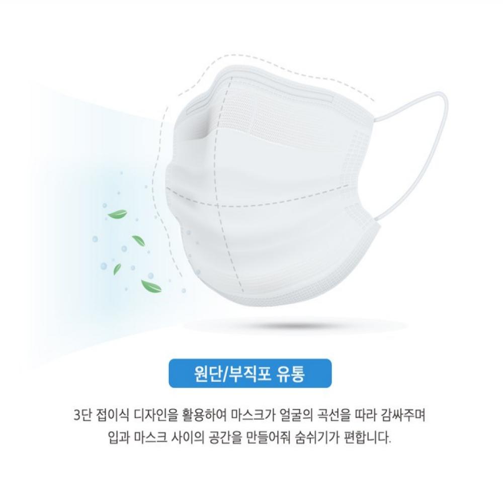 국내산 1+1+1 숨쉬기 편한 3중구조 덴탈 일회용 화이트 150매 마스크, 흰색-23-5750715927