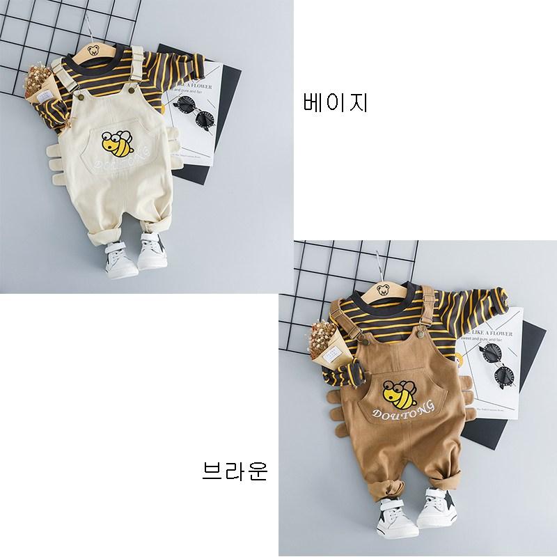 MOLY 유아동 줄무늬 티셔츠+멜빵청바지 세트 J496