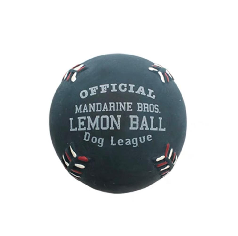 애완견 소형견 중형견 탄성 볼 강아지 장난감, 1개, 레몬 야구 네이비
