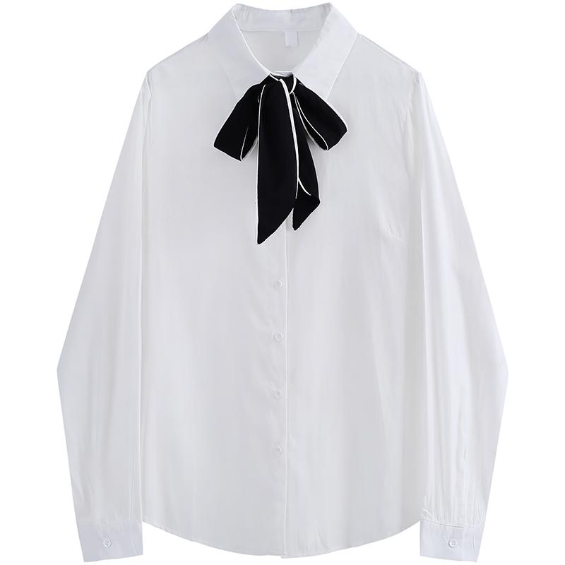 라우렌 흰색긴팔셔츠 KAKD 디자인 감각 보이핏 볼륨 봄계절 룩 화이트 이너티셔츠