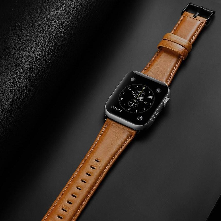 아카빌라 애플워치 6 5 4 3 SE 가죽 손목 시계줄 스트랩 밴드, 1개, 애플워치 4/5/6/SE공용(44mm)-브라운