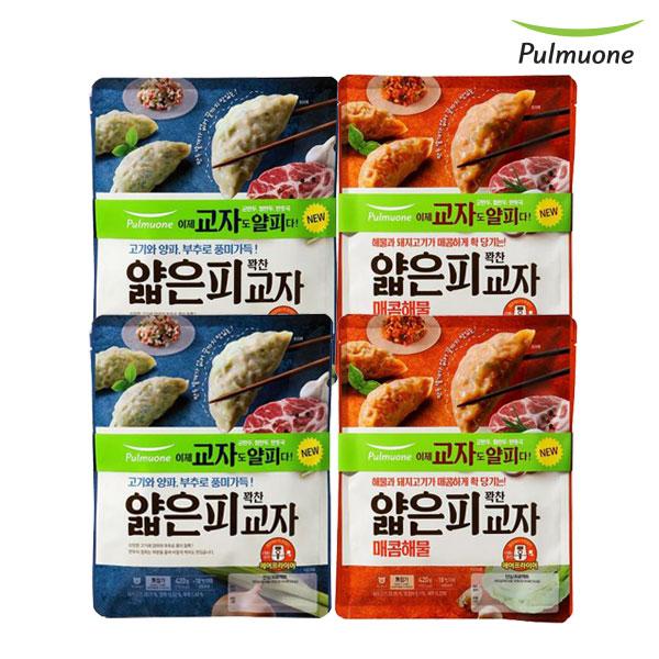 [풀무원] 얇은피 교자만두 혼합(고기+매콤해물) 420gx4봉, 단품