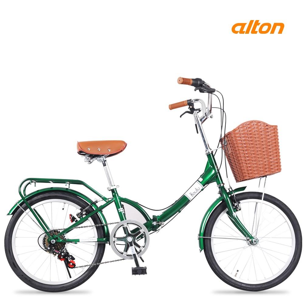 알톤 보뚜F 접이식 미니벨로 자전거, 150cm, 보뚜F - 그린+미조립