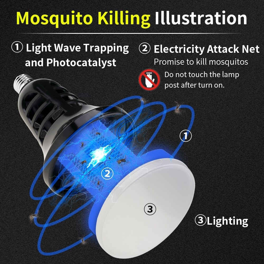 B22 E27 LED 전구 AC110V AC220V 8 W LED 전구 화이트 UV 모기 킬러 램프 두 가지, [1] [E27 AC 110V]^