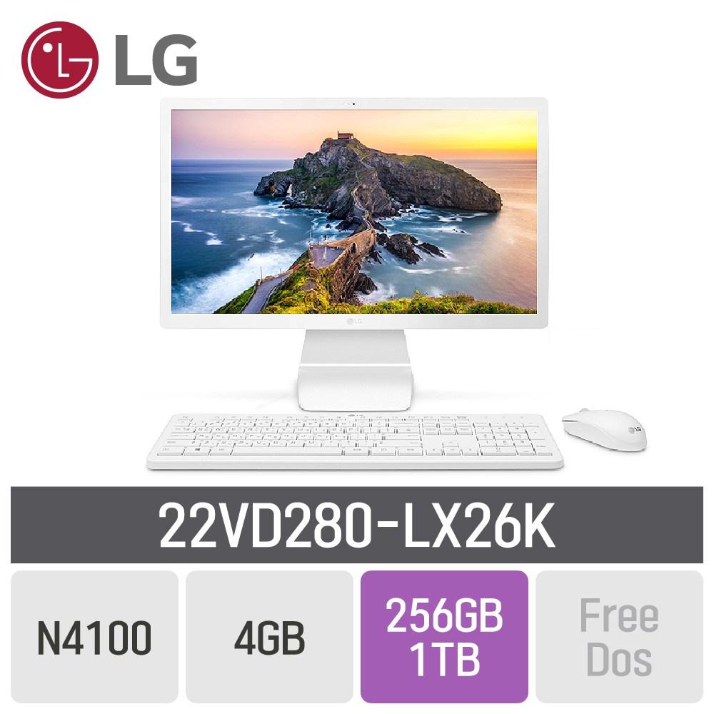 LG 일체형PC 22인치 22VD280-LX26K, RAM 4GB + SSD 256GB + HDD 1TB