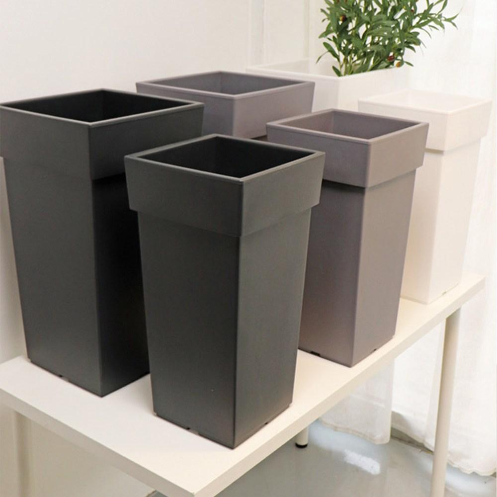 사각 심플 플라스틱 인테리어 화분 3종 - 대형 특대형, 블랙