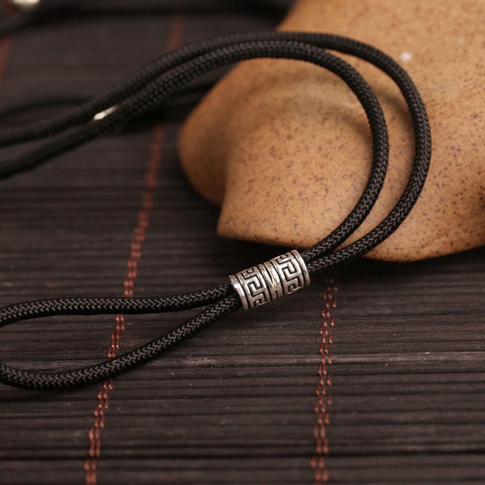 others 통 유각 925 은 평안 버클 끈 전용 펜던트 남녀 옥 반지 의 목걸이 매달 기 목 소 만자 매듭 - 검 줄