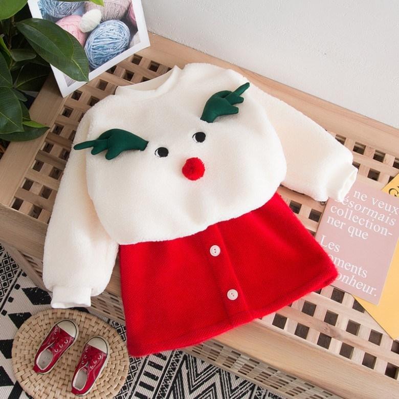 -피카부- 여아 루돌프뽀글이티+빨강치마 크리스마스 선물