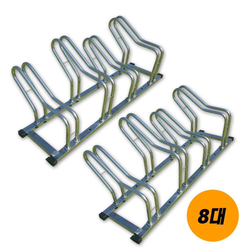 삼원스틸 스테인리스 자전거 거치대 일자형(1대~10대), 자전거 거치대 8대 보관용 일자형