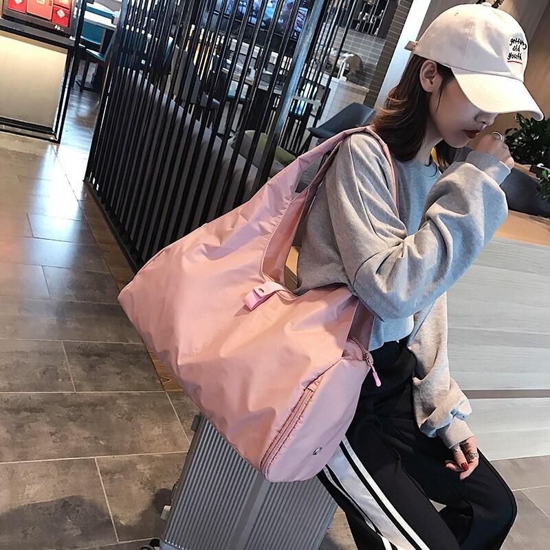 단거리 여행 가방 여자 휴대용 캐주얼 운동 헬스 가방 패션 가볍다 여자 트레이닝 가방 붐 대용량 접기 숄더 여행 짐 가방 핑크