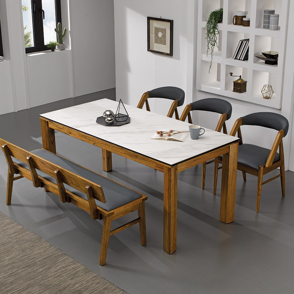 [로드퍼니처] 니체 이태리 세라믹 식탁세트 /4인용/6인용/원목, 1700사이즈-화이트 상판+의자(일반3+벤치1)
