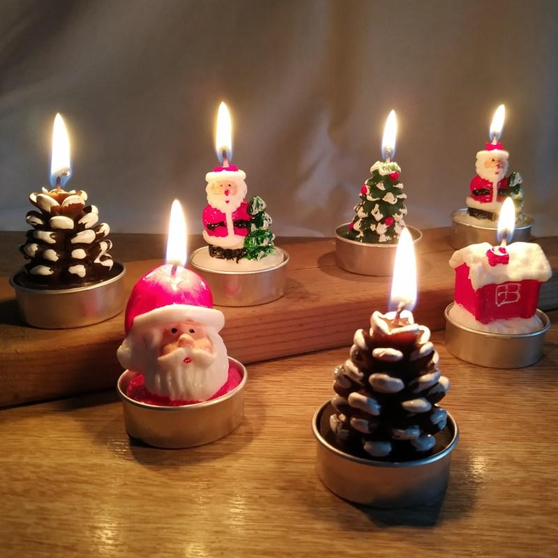 크리스마스 캔들 양초 산타 눈사람 양초 파티 장식 3PC 고품질 크리스마스 파티 아동 선물, 1세트(3개랜덤)