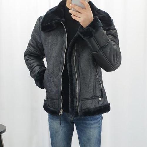 WOWayo 남자 겨울 블랙퍼 무스탕 자켓