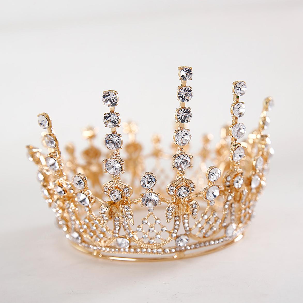 티아라 왕관 케이크 셀프웨딩 브라이덜샤워 생일 파티 진주 토퍼 프로포즈 머리띠, 럭셔리 티아라(골드)