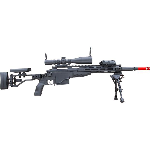GUN M40A6 MSR 볼트액션 탄피배출 저격총 수정탄 젤리탄 카구팔 에땁 나일론 재질, 블랙