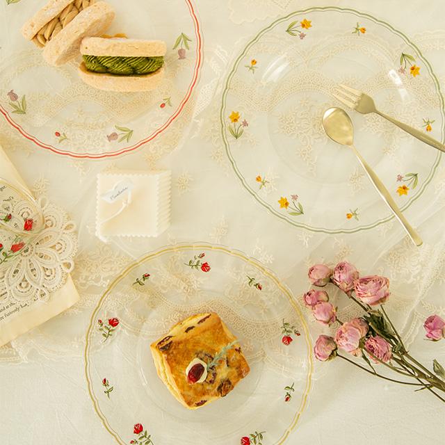 레트로 플라워 라인 유리접시, 장미