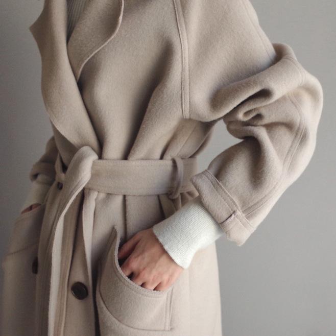 고급 모직코트 겨울 가을 계절 하프기장 무릎넘어 양면 캐시미어 모직 코트 여성 트렌드