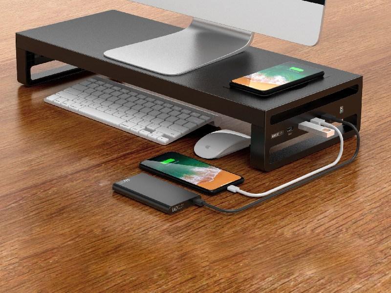Aris 고속 무선충전 USB 멀티 허브 올인원 모니터 받침대, 무선충전 포함