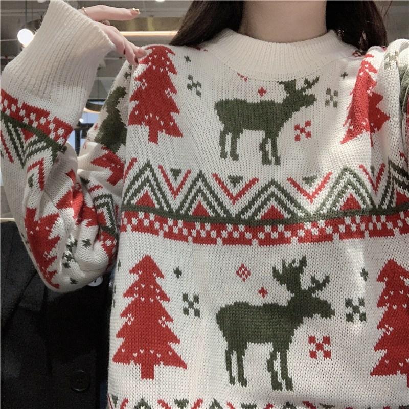 크리스마스 멀티 루즈핏 니트 스웨터