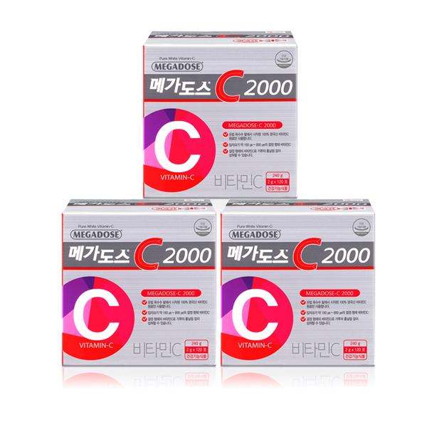 3박스 특가! [고려은단] 메가도스C2000 (120포*3박스12개월분) 영국산비타민C100%