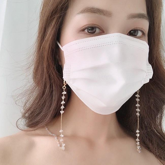 굿아이즈 [마스크스트랩] 고급 오로라 비즈 마스크목걸이 크리스탈 마스크줄 체인 끈 안경줄 정유미st