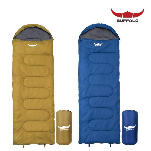 버팔로 사계절 휴대간편 경량 캠핑 침낭 사각 후드, 카키