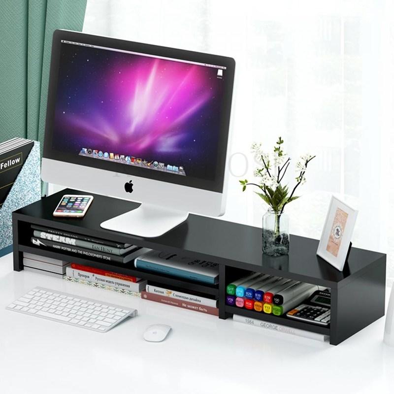 kirahosi 고품격 듀얼 컴퓨터 모니터 받침대 원목 사무실 171호+덧신증정 CDzat91k, 스타일 2#