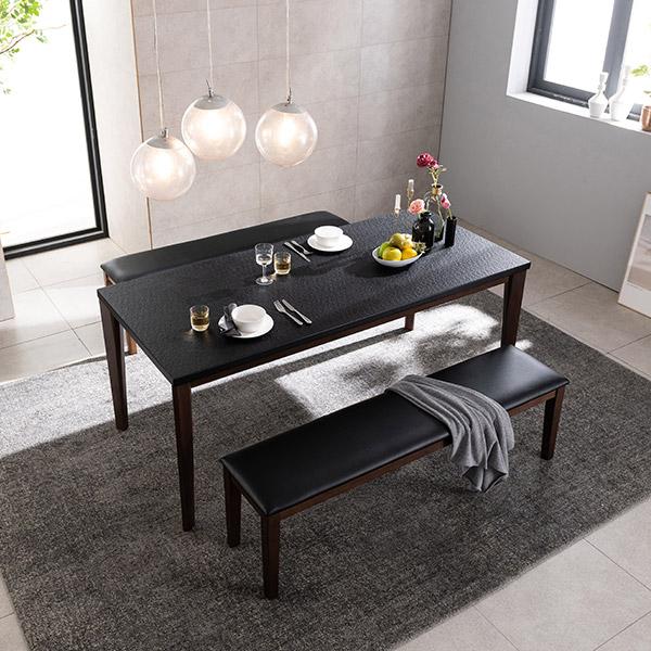 삼익가구 크로아 화산석 원목 6인용 식탁세트 화산석식탁, 벤치 2EA