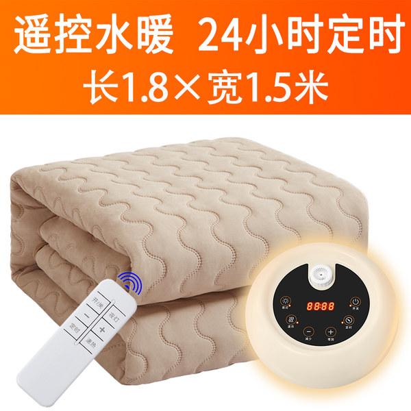 물 순환 가열 온열 구들장전기 카페트 매트 캠핑 용 전기 장판 담요 핫팩, Khaki-Smart 리모컨 버튼 버전 1.5x1.8m