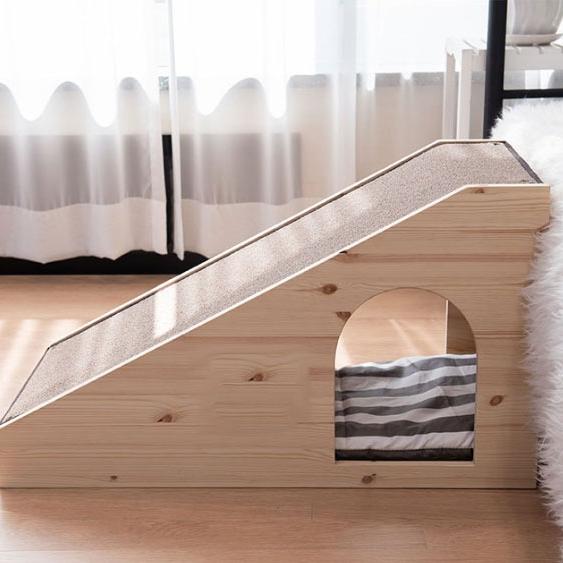 몽몽드 슬개골탈구예방 원목 하우스겸용 슬라이드 스텝 계단, 브라운