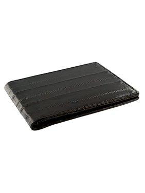 큐빅 애비뉴 장어 가죽 메탈 클램프 어음과 신용카드 카드 소지자 브라운 지갑