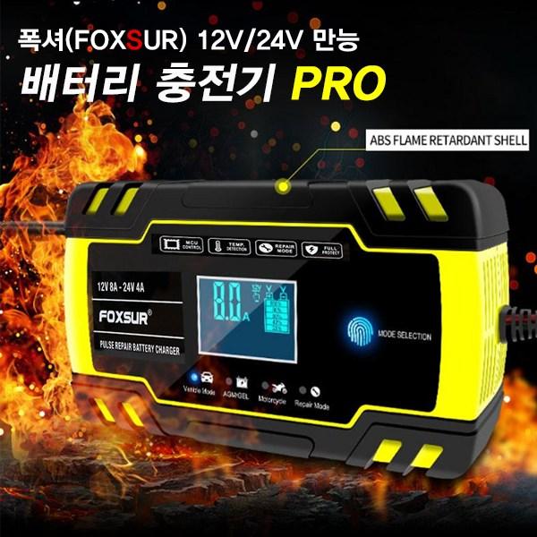 KDsafe 퍽셔 고성능 12V/24V 자동차 배터리충전기, FOXSUR 만능 충전기-프로형