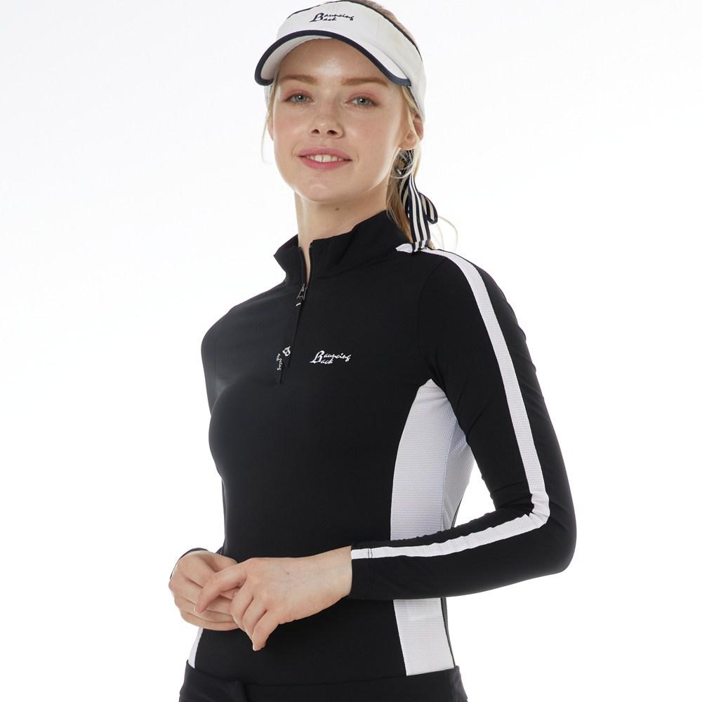 바운싱백 긴팔 짚업 골프티셔츠- 블랙