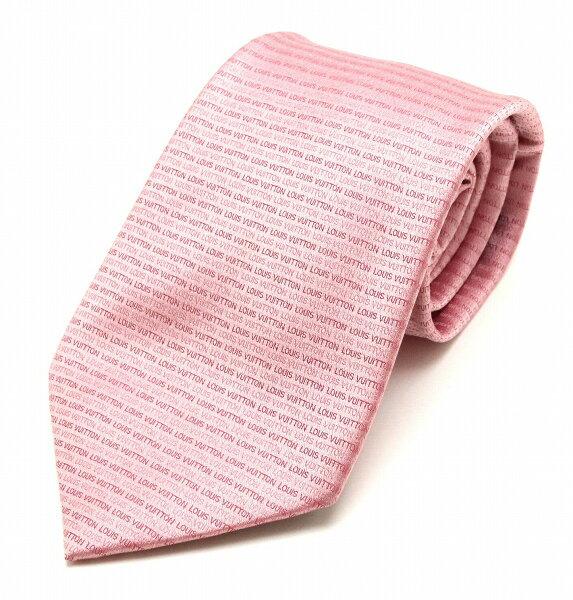 루이 비통 로고 패턴 넥타이 실크 100% 핑크