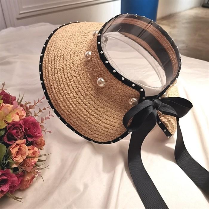 라피아 모자 여성 여름 진주 활 리본 빈 대형 챙 넓은챙 썬캡 토플리스 비치
