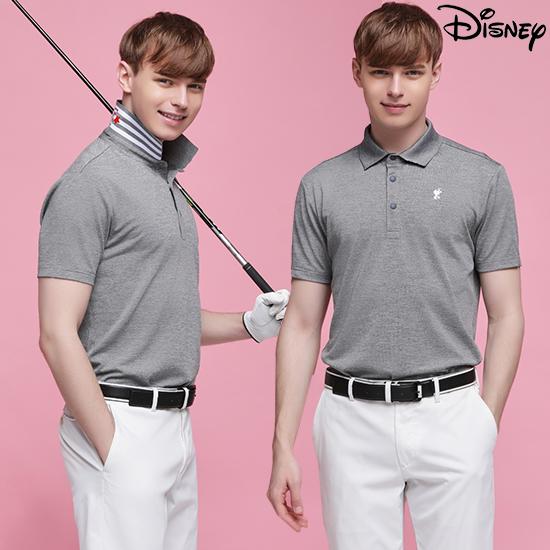 디즈니 [디즈니] 남성 라운딩 카라 티셔츠 멜란지그레이
