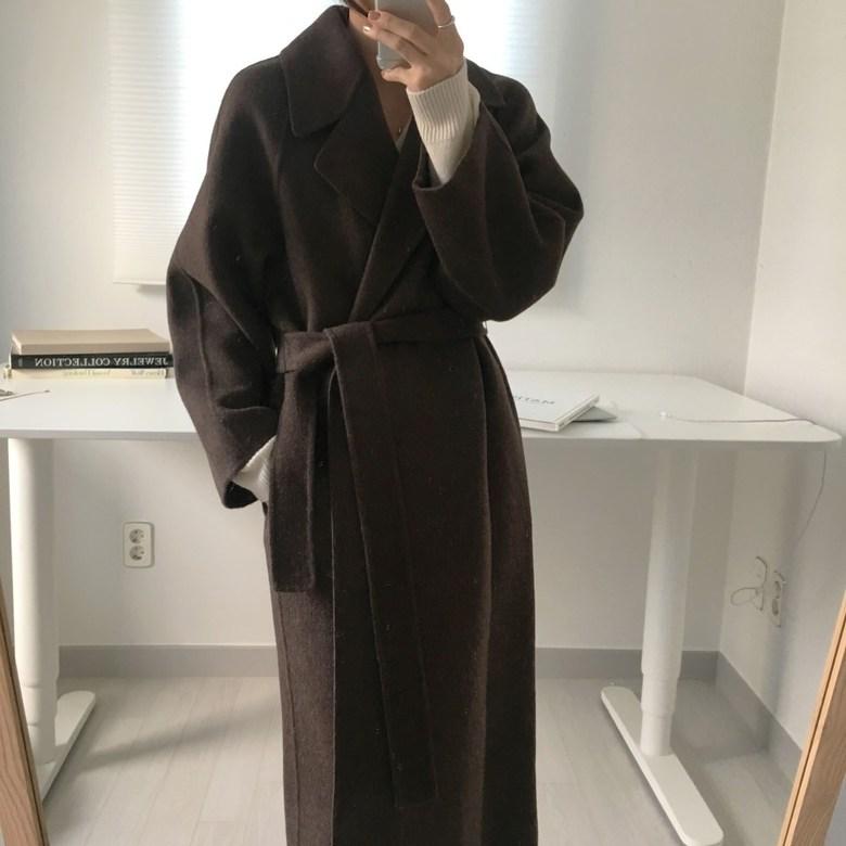 오늘만 국내배송 오픈미 벨트 롱코트 여성 코트 캐주얼 겨울 허리끈코트 모직코트 더블코트 기본코트
