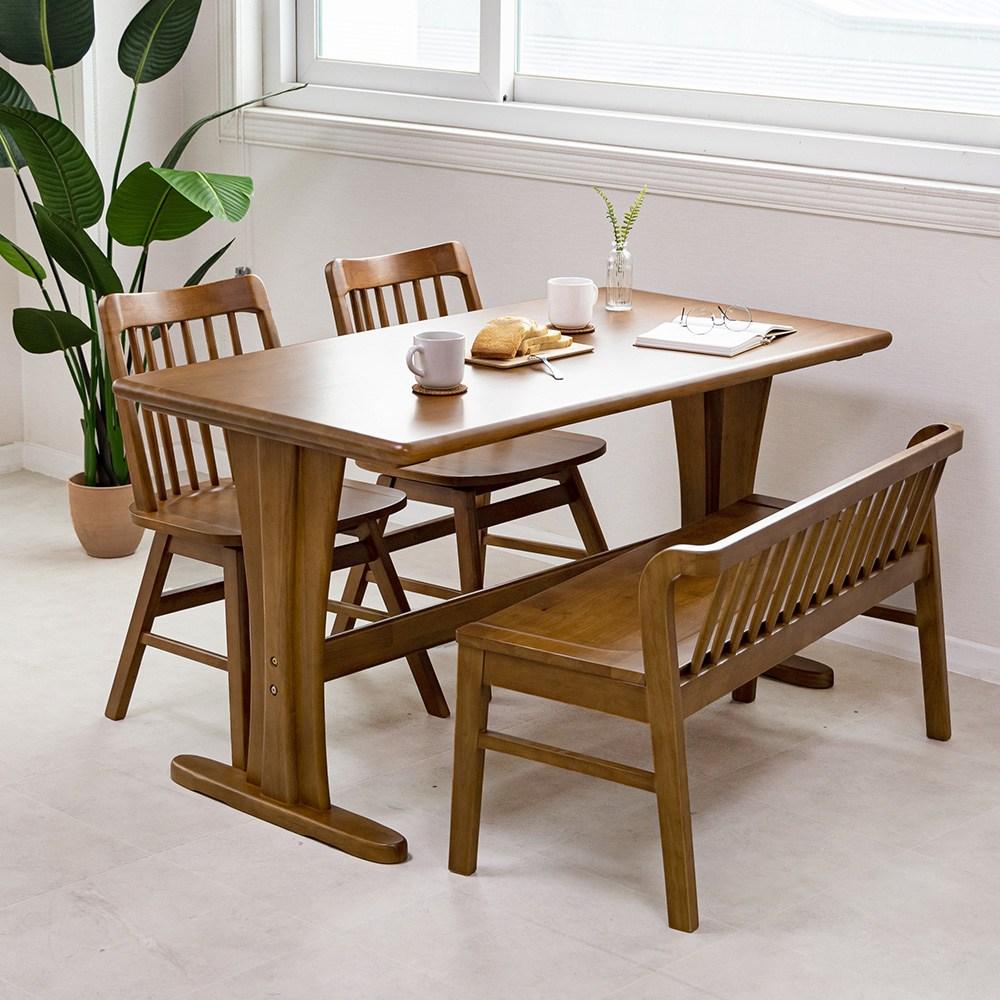 라로퍼니처 킹 4인용 원목 식탁 세트 벤치형B(식탁+의자2+벤치1) 식탁세트, 단품