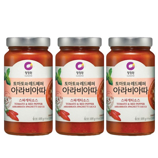[K쇼핑]청정원 아라비아따 스파게티소스 600gx3개, 단일상품