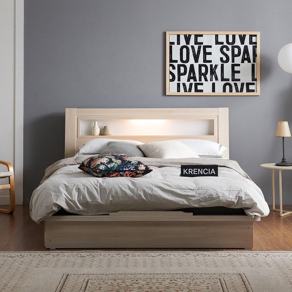 크렌시아 라이 LED 평상형 침대프레임 (매트제외), 메이플, 퀸