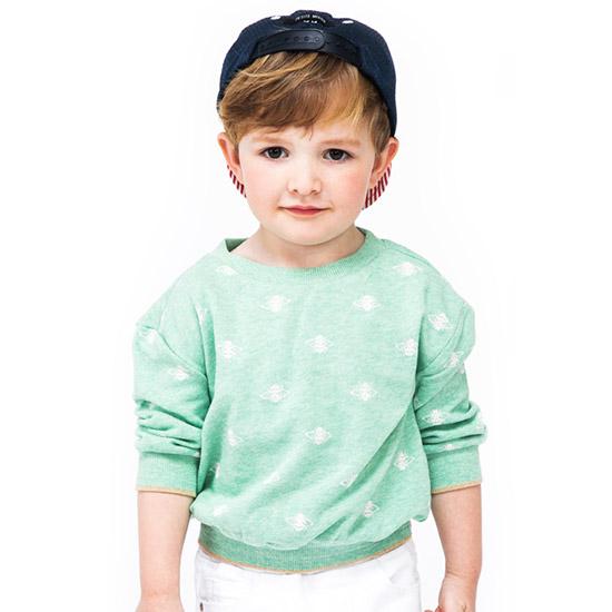 짐보리 (~3세 유아)공용 벅스 패턴 라운드 티셔츠 GTS2419474_GN_