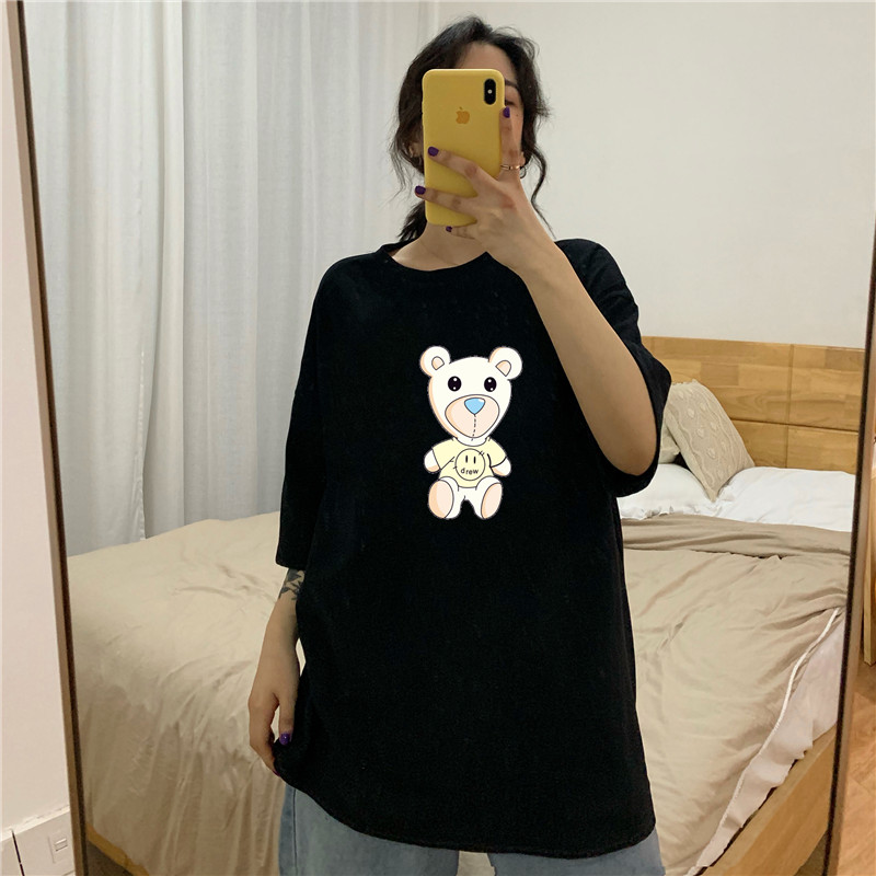 라우렌 흰반팔티 순면 코튼 여성 와이드 루즈핏 핏아우터 여름 심플 라운드 넥 티셔츠 하라쥬크 무드 트렌드