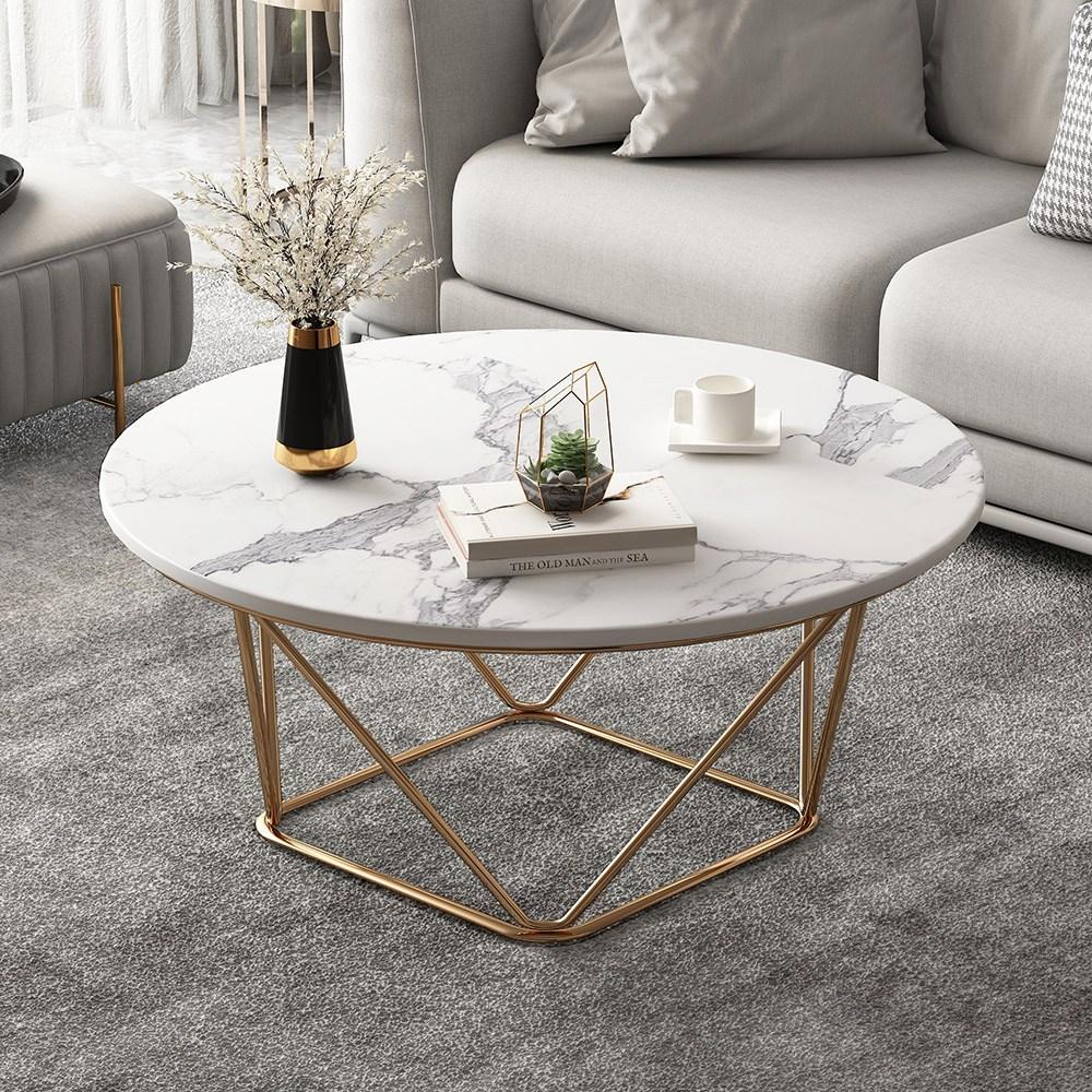 모던 대리석 거실 소파 티 인테리어 디자인 골드 테이블, 70x70x45 골드