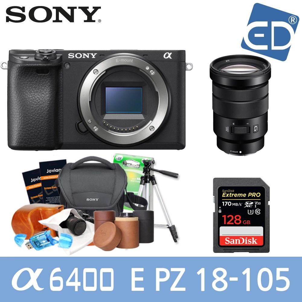 소니 A6400 16-50mm 128패키지 미러리스카메라, 11 소니A6400블랙 + 18-105mm렌즈 +128GB + 소니가방 풀패키지