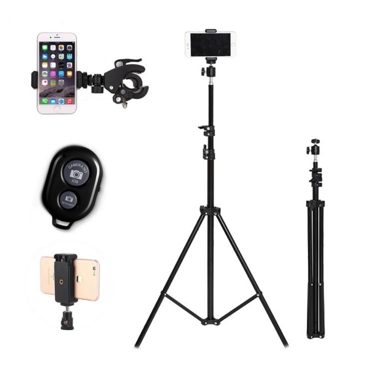 다번다 개인방송용 최대 2m10 대형 카메라 스마트폰 삼각대, 2M10 대형삼각대 본품 거치대 리모콘 포함