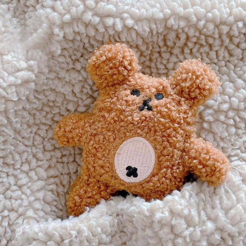 에어팟 1세대 2세대 3세대 프로 pro 귀여운 뽀글 테디 베어 곰돌이 인형 뜨개질 털 케이스 철가루스티커, 브라운-WAP433, 에어팟프로 3세대