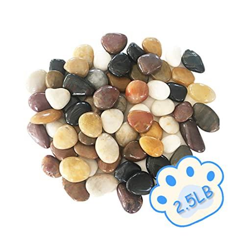 EOM 2.5lb 자갈 수족관 자갈 자연 광택 장식 강 바위 정원 야외 장식 강 자갈 바위 조경 꽃병 필러를위한 혼합 색 - E0985089SRWTN76, 기본