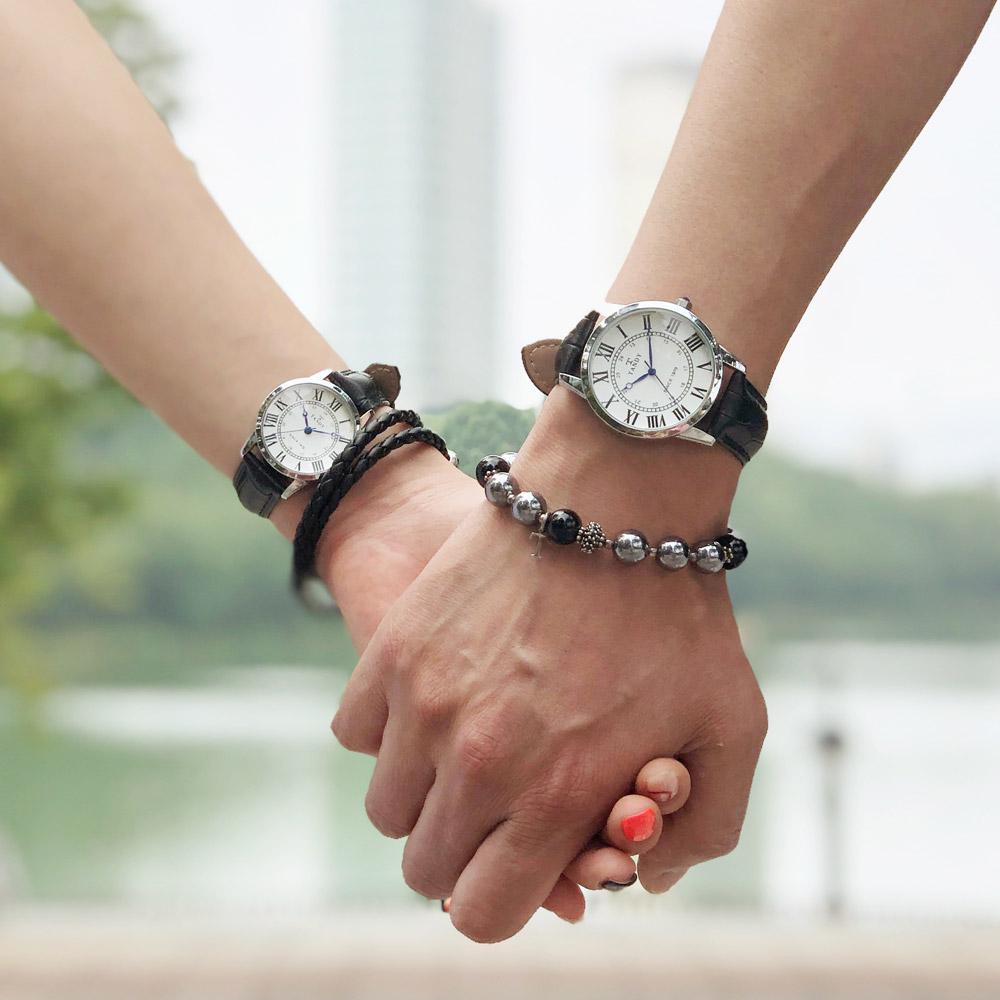 탠디 TANDY 클래식 커플 가죽 손목시계 T-1714 화이트 남여 택1(탠디 쇼핑백 증정)