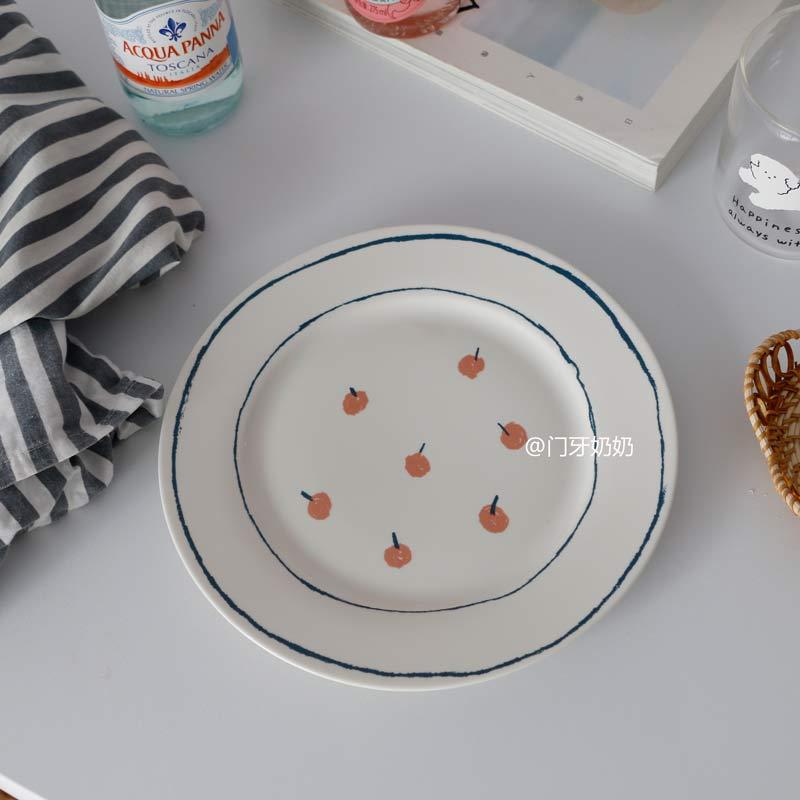 빈티지 레트로 큐티 과일 카페 접시 그릇, 8 인치